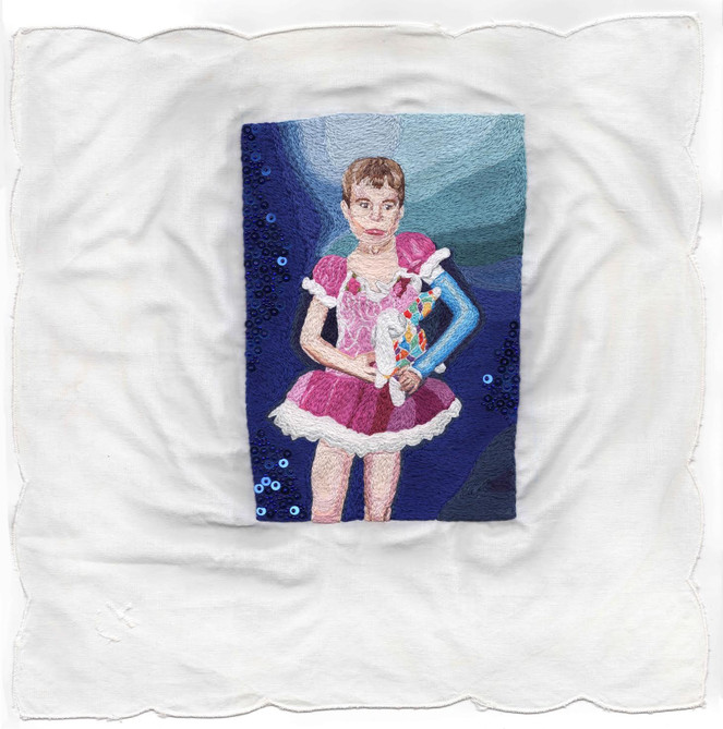 Portrait of My Seven Year Old Self Playing Dress-Up, 2019 cotton embroidery floss, sequins and glass beads on found cotton napkin 15 1/2 x 15 1/2 in. $1,800