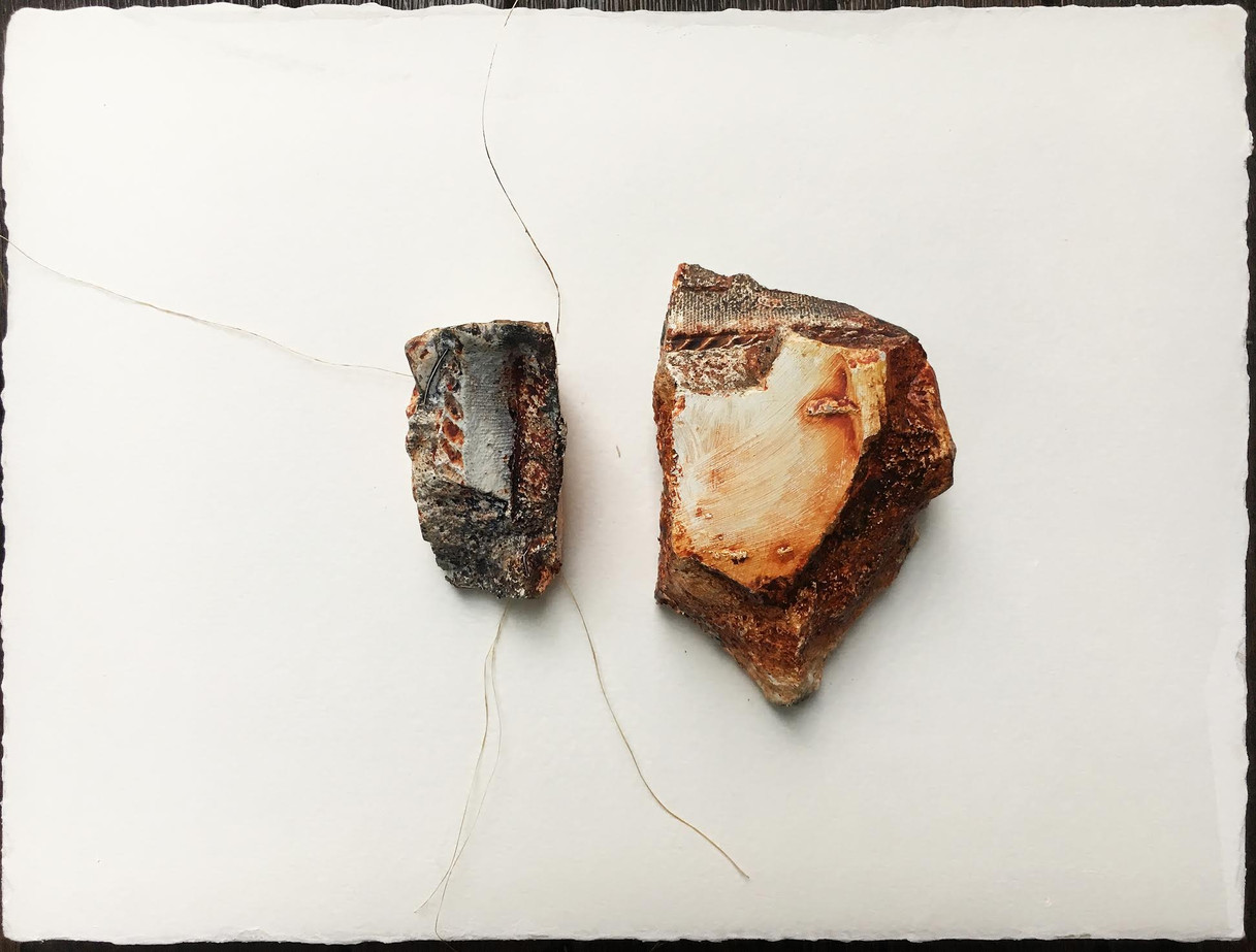 Assemblage #7 cement, fibers, paper and acrylic on paper 9 x 12 in.