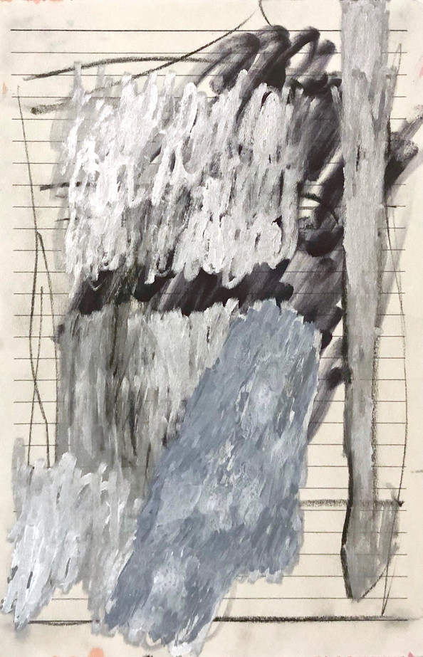 Untitled, 2019 Ink, oil marker and charcoal on paper  5.5 x 8.5 in.