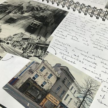 Sketchbook research design development history of Stonehouse Plymouth