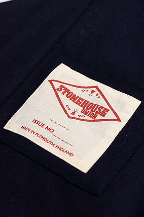 Internal screen print garment label Stonehouse Union Made in Plymouth, England
