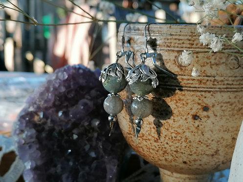Boucles d'oreilles ~Floralys~ Labradorite