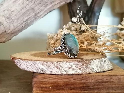 Bague ~Silver~ Labradorite Ovale (réglable)