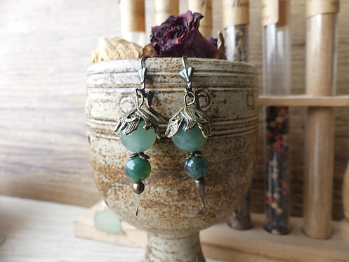 Boucles d'oreilles ~Floralys~ Aventurine & Agate Mousse