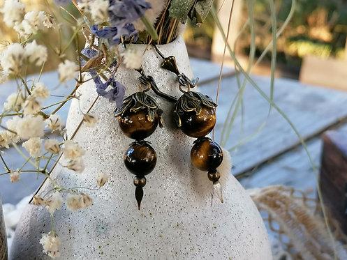 Boucles d'oreilles ~Floralys~ Oeil de Tigre
