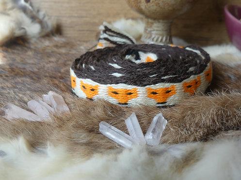 Galon ~Foxy~ Motif renard, Teintes blanches, oranges, noirs et marrons