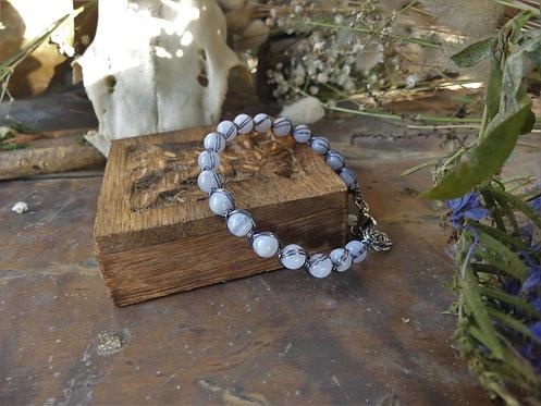 Bracelet ~Petit Aralia~ Calcédoine Bleue