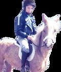 Andrea Hicks on the pony saddle she took apart age 10