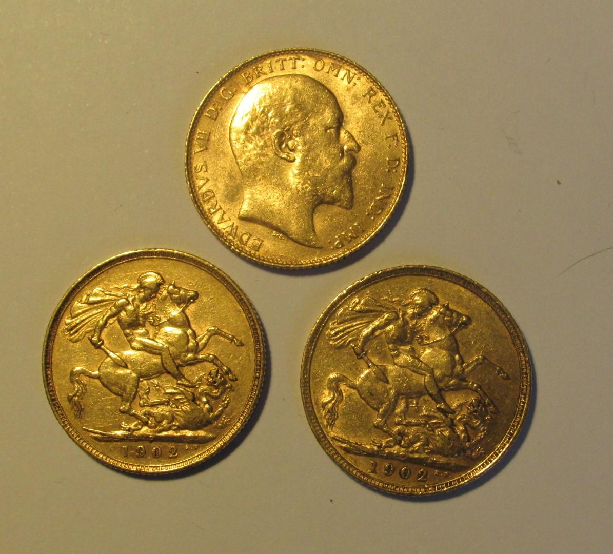 3 pièces souverains or