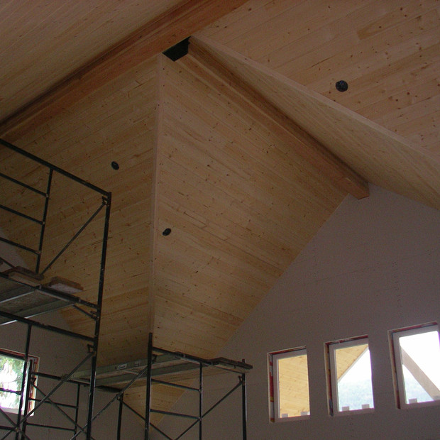 Vaulted ceiling with natural pine T&G finish