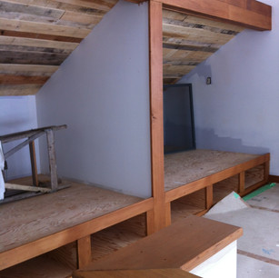 custom bunk beds with cedar and pallet ceiling