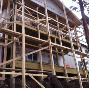 Tight space called for wooden scaffold.