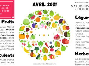 Calendrier de Saisonnalité - Avril 2021