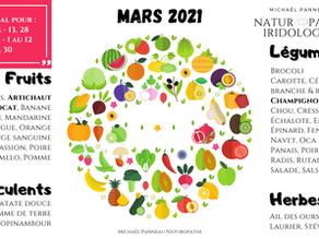 Calendrier de Saisonnalité - Mars 2021