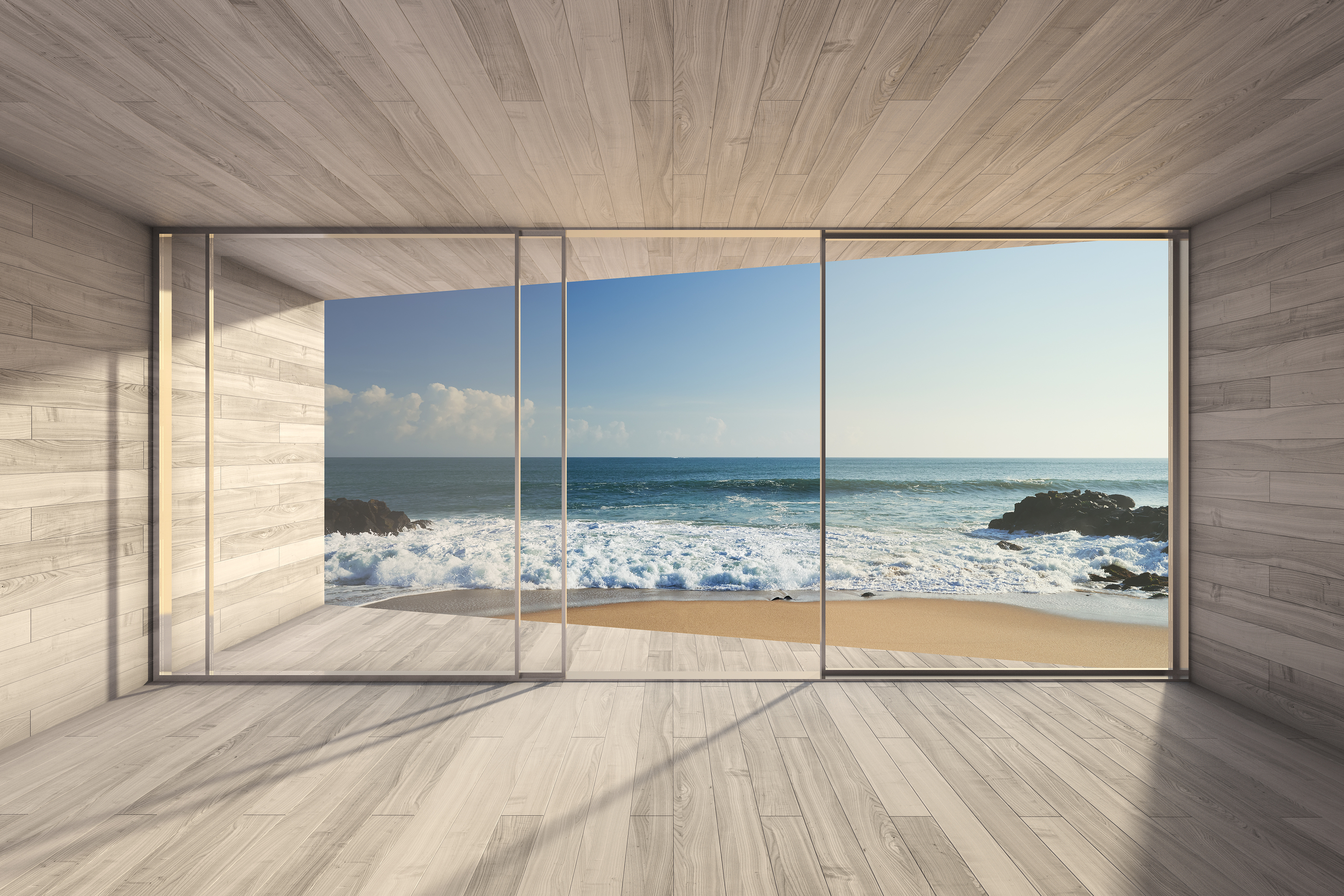 Empty modern lounge area with large bay window and view of sea. 3D render..jpg