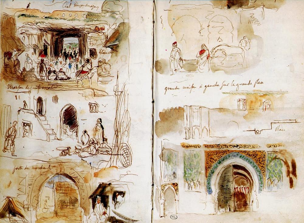 Illustrations des carnets de voyage de Delacroix