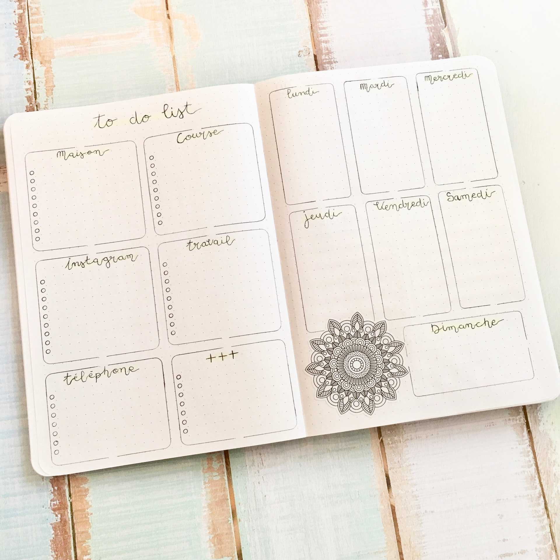 Weekly layout on A5 notebook