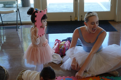 Ballerina at kids birthday party