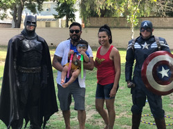 Superheroes posing for Photos