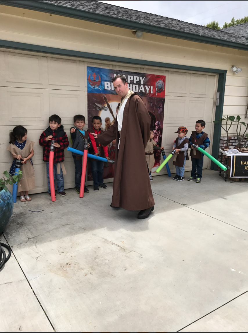 Male Jedi and Children Light Sabers