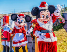 Mickey and Minnie in holiday outfits for