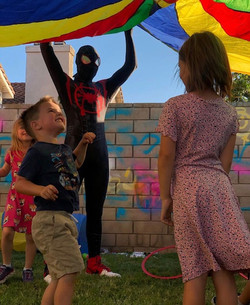 Parachute activity with Spiderman