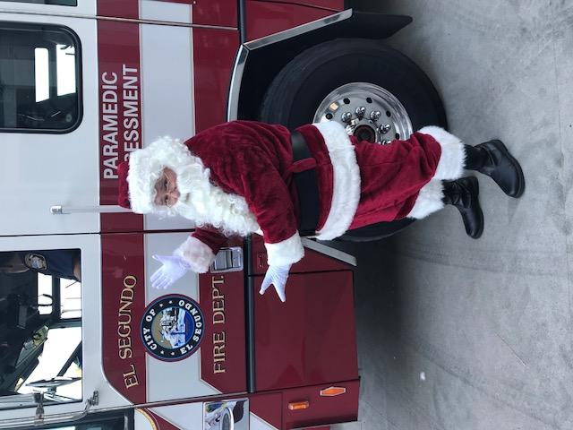 Santa entrance on Fire Truck