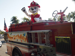Marshall on a fire truck