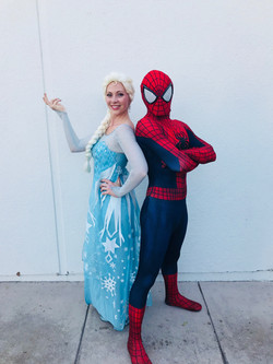 Spiderman and Elsa at charity event