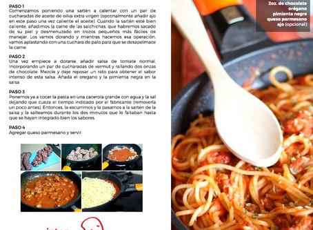Receta Espagueti con butifarra y salsa de tomate