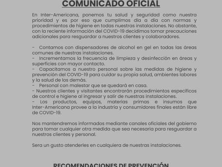 COMUNICADO OFICIAL 17 de Marzo 2020
