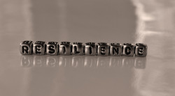 Resilience -  word from metal blocks - c
