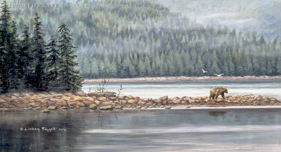 """Shoreline Foraging"" Grizzly Bear"