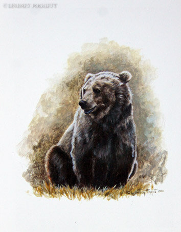 """""""Play Time VII"""" - Grizzly Bear(Miniature Painting)"""