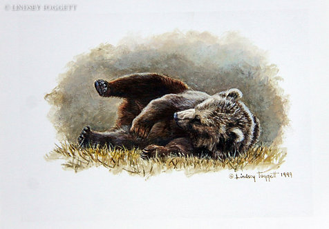 """""""Play Time V"""" - Grizzly Bear (Miniature Painting)"""