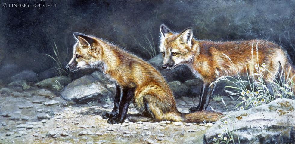 """""""Cautious Leader"""" - Fox Cubs"""