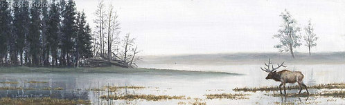 """Mist Over Yellowstone"" - Elk (Miniature Painting)"