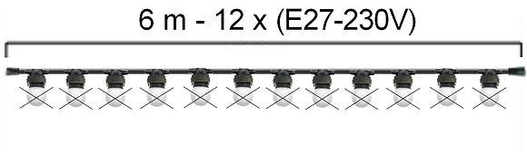 GUIRLANDE - L'INTEMPORELLE (Linéaire) -Long 6,0m-12 Douilles E27 ( sans ampoule)