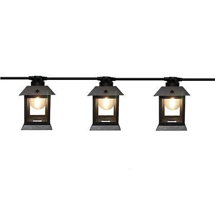 Guirlande 3,0m - 6 Lanternes Métal - Ampoules G45 Filament Led 1W -Amb.3000°K