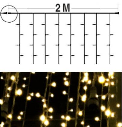 EXTENSION - Rideau 100 LEDS (Fixe) - 1,5m x 2,0m - Fil Noir - Blanc Chaud