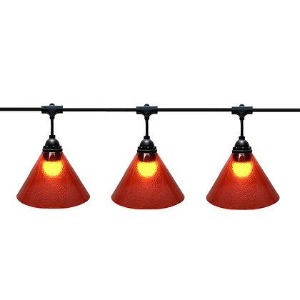 Guirlande PENDANTE - 6,0m - 8 x E27/G45 - Led - 1W - Cônes plast Rouge