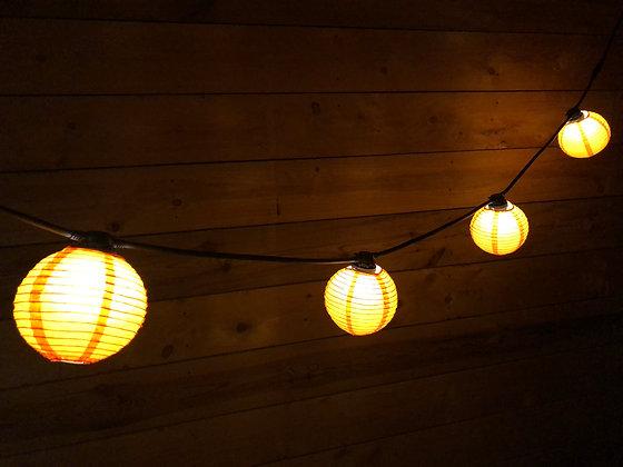 Guirlande Linéaire 3,0 m - 6 Lanternes papier Orange - Amp. Led 1W