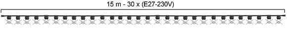 GUIRLANDE - L'INTEMPORELLE (Linéaire) - Long 15m -30 Douilles E27 (sans ampoule)