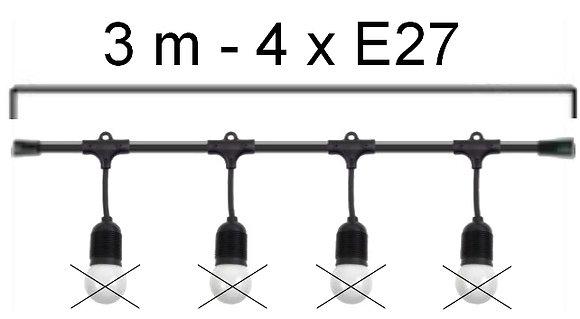 GUIRLANDE -L'ELEGANTE(Pendante) - Long 3.0m -4 Douilles E27 (Vendu sans ampoule)