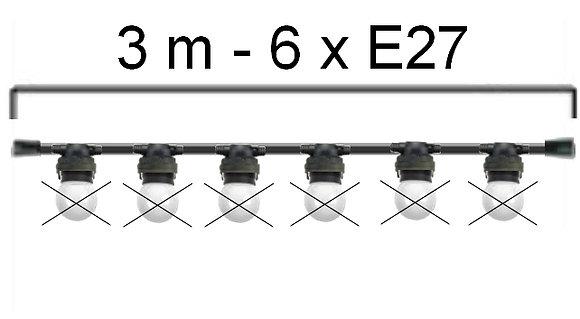GUIRLANDE - L'INTEMPORELLE (Linéaire) - Long 3,0m-6 Douilles E27 ( sans ampoule)