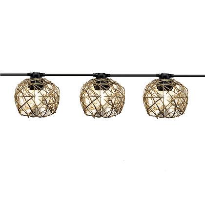 Guirlande 6,0m - 12 boules Rotin - Ampoules G45 Filament Led 1W Vintage 2200°K