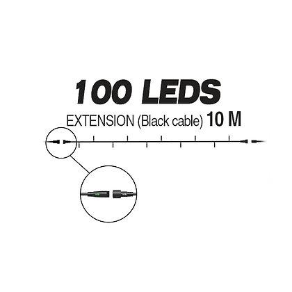 EXTENSION - Guirlande 100 LEDS (Fixe) - 10 m - Fil Noir - Blanc Chaud