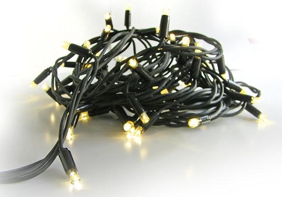 EXTENSION - Guirlande 25 LEDS (Fixe) - 2,5m - Fil Noir - Blanc Chaud