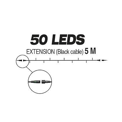 EXTENSION - Guirlande 50 LEDS (Fixe) - 5 m - Fil Noir - Blanc Chaud