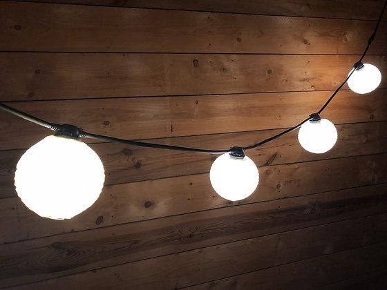 Guirlande 15,0m -30 Lanternes papier Beige - Ampoules G45 Led 1W Blanc Chaud